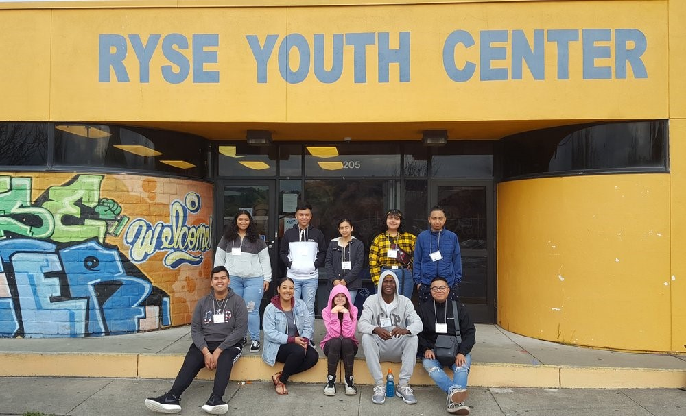 Young organizers in front of Ryse Youth Center in Richmond