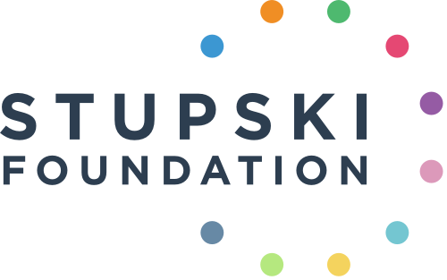 Stupski Foundation Logo with ten different colored dots in the shape of a circle.
