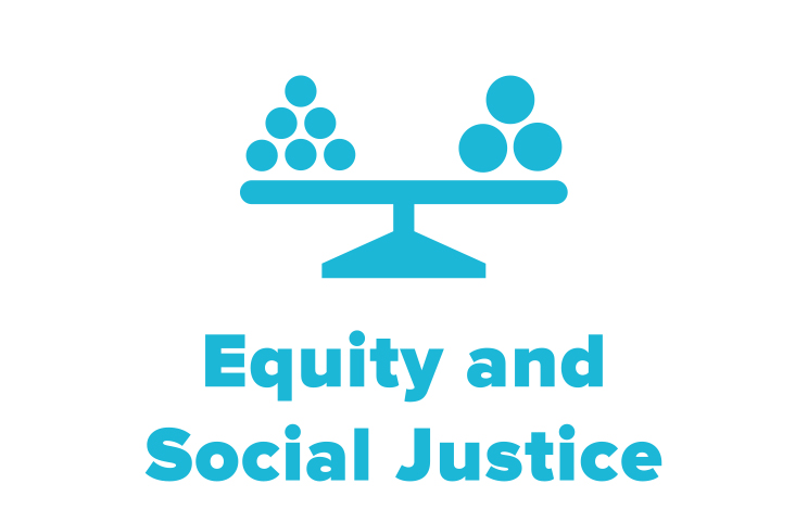 symbol of a imbalanced scale to represent NCG's equity and social justice work.